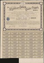 The MATCH and TOBACCO TIMPER SUPPLY Company Share Warrant to bearer for one share of 1 pound, No. 352,138, issued 1926 in Portugal, with attached dividend coupons numbered from 6 to 50. VF.