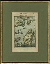 ?ISLE DE RHODES?. Full colour copper plate by MALLET, Allain Manesson, publ. in Paris 1683