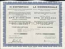 Bond certificate for 10 shares of 150dr each, issued by
