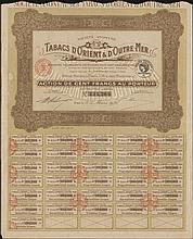 Societe Anonyme des TABACS dORIENT & dOUTRE MER / Action de CENT FRANCS au Porteur / No. 334,366 share, issued in Paris, 5.3.1928, complete with coupons numbered from 10 to 40. VF.