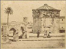 James ROBERTSON & Felice BEATO, 1855 or 1856. Early albumenized photograph of the Tower of Winds – Athens. Rare photo from the period of the cooperation of the two famous early photographers