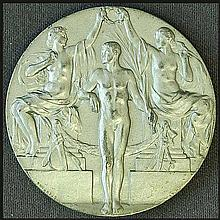 Stockholm Olympic Games 1912. Medal Proof. 33mm. Face: Herald standing next to bust