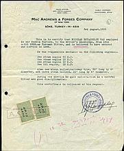 MAC ANDREWS & FORBES Company. SOKE. Turkey in Asia. 1935. Referee letter for an employee of the SOCH