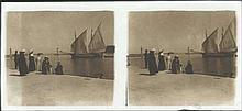RHODES c.1900. Stereoscopic Glass plate (positive). Rare view of Rhodes port at the end of the 19th