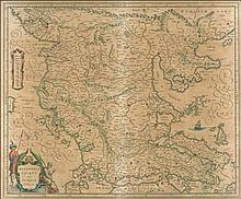 MACEDONIA EPIRUS ET ACHAIA. G.Blaeu exc. J. Blaeu 1640-1667 French text on verso.