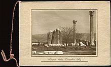 Αθήναι. Ναός Ολυμπίου Διός small (8.7x6 cm.) sepia photo on souvenir folder prepared by Photo Studio Stournaras in Athens.