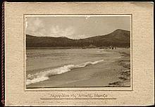 Ακρογιάλια της Αττικής. Βάρκιζα small (8.5x6 cm.) sepia photo on souvenir folder prepared by Photo Studio Stournaras in Athens.