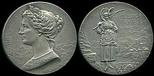Paris 1900, 2nd International Olympic Games, Switzerland Shooting Silver Medal. Relief bust of