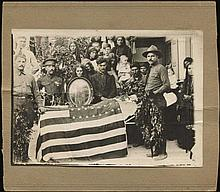Funeral of American Soldier (Greek??). b&w; photo, mounted on carton paper. Photo dim. 18x13cm. Very Fine.