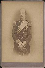 KING GEORGE I of Greece c.1890. Cabinet real albumen photo (11x16cm) attached on passe-partout. Photo by