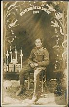Salonika - Thessaloniki 1919. Souvenir De Salonique. British soldier in front of mosque studio background. Silver-print real picture postcard. Scarce.