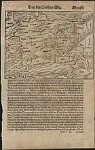 MUNSTER S. Two sheets with woodcut maps of Asia Minor, Turkey  & Greek Archipelago