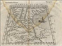 Tavola Terza d'Asia Antica, in cui si contiene Colchide, Iberia, Albania & Armenia maggiore, Ruscelli G., G. Rosaccio, after G.Gastaldi,