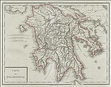 Carte Du Peloponese / Grave par P.F.Tardieu hand coloured copper engraved map by P. F. TARDIEU, 1785, 1797. Highly detailed map of Peloponnese. Map size: 44x33cm. Folio size: 54x43 cm. Excellent condition. Zach. 3461. This map comes from the first ed