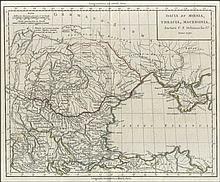 Dacia et Moesia, Thracia, Macedonia. Auctore C.F. Delamarche G.o, Anno 1790. hand coloured copper engraved map by C.F. Delamarche, Romanian edition. Map size: 28x23cm. Folio size: 46x33 cm. Excellent condition. Not in Zacharakis.