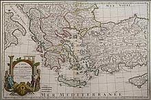 Carte De La Grece. Dressee sur un grand... Sept. 1707/Ph.Buache...Avec Privilege du 30 Av.1745 detailed copper engr. map by Delisle G., including Greece, Turkey, Cyprus, part of Italy & Balkans. Map dim. 65x45cm. Printed on heavy paper, tears on uppe