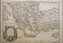 CARTE DE LA GRECE...Sur ceux de Mrs Wheler et Tournefort...Par G.DE LISLE...A AMSTERDAM Chez JEAN COVENS et CORNEILLE MORTIER Geographes G. Delisle 1683-1761, 1751, 1740. Large detailed coloured copper engr. map of Greece, Turkey & parts of Italy, Cy