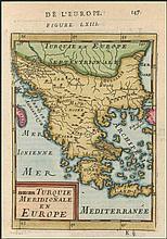 De la Turquie Meridionale en Europe. Full colour copper plate by MALLET, Allain Manesson, publ. in Paris 1683 in