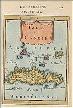 Isle de CANDIE. Full colour copper plate by MALLET, Allain Manesson, publ. in Paris 1683 in
