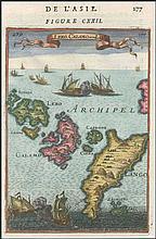 Is de LERO CALAMO et de LANGO. Full colour copper plate by MALLET, Allain Manesson, publ. in Paris 1683 in