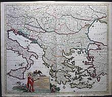 REGNI HUNGARIAE, GRAECIAE, ET MOREAE ac Regionum quae ei quandam fuere Christiani ut.... delineatio per Ioannum Danckerum/Amstelodami cum privilegio ordinum Holl: et Westfrisiae J. Danckerts 1680-1690 from