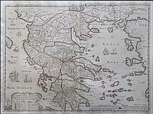 GRAECIA / Ludovico Valesio Inuictissimo principi... / GRAECIA ANTIQUAE Tabulam Hanc Geographicam offert, dedicat, consecrat NIC. SANSON Abbavillaeus MXCXXXVI (1636) original copper engraved map with handcoloured outline from Cartes generales de toute