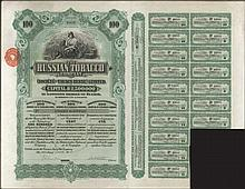 The RUSSIAN TOBACCO Company, Societe de Tabacs Russe Limited, Share Warrant to bearer for 100 Shares of 1 sterling each, No. F6695, issued 14.10.1915 at London, with attached dividend coupons numbered from 4 to 20. VF.