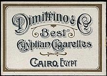 DIMITRINO & Co Cairo, Egypt Best Cigarettes. Original empty carton packet. Size:10x7x2cm. Very Fine.