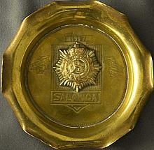 WWI Military Trench Art: brass ashtray with a fluted rim and the regiments insignia at its center (Royal Army Service Corps) with its motto