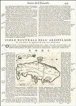 Isola di RODI copper engraved map (12,4 X 16,7 cm.) on a large sheet extracted from the book