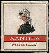 XANTHIA MIREILLE Xanthis Freres Alexandrie-Caire-Geneve. Original empty carton packet of 20 cigarettes. Dim.7.5x8x2cm. Fine.