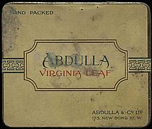 ABDULLA Virginia Leaf. Original empty tin box for 20 cigarettes. Size: 9x7.5x1.5cm. Scratches.
