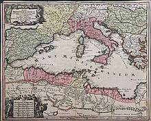 MARE MEDITERRANEUM, juxta Regna.../ Cum Gratia... Juris Franconici Seutter M., large handcoloured copper engr. map, c.1730. Dim.: 57x50cm presenting in high details the regions bordering Mediterranean Sea. Beautifull title cartouche with Neptune, win