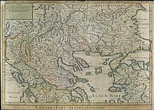 GRAECIAE PARS SEPTENTRIONALIS by G. Delisle, handcoloured copper engraved map from