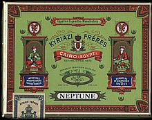 KYRIAZI Freres NEPTUNE Cairo (Egypt). Original empty carton packet for 20 cigarettes. Size:9.5x7x2cm. Very Fine.