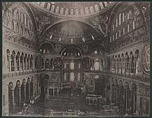 Sebah & Joaillier. 501. Interieur de la Mosquee de Ste Sophie. Vue generale, c.1900. Albumen photo, thin photographic paper on thick carton paper. Size: 26.5x21cm. VF.