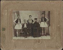 Γ. ΠΑΝΤΟΠΟΥΛΟΣ, ΧΑΛΚΙΣ sepia photo, studio portrait of a family with traditional costumes, framed, 149x113mm , 247x196mm with the frame.