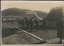 Le Roi (Alexandre) de Grece visite les ambulances anglaises, 1916 b/w WWI photo of the French Army Photographic section, 18x13cm. VF.