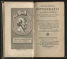 Ιπποκράτους Αφορισμοί = Hippocratis Aphorismi ad fidem veterum monimentorum castigati, latine versi, a J.B. Lefebvre de Villebrune. Constantinopoli,