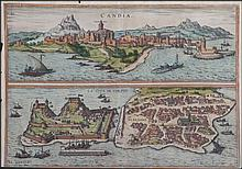 Candia / La Cita de Corfu by Braun & Hogenberg 1575-1612, hand-coloured woodcut, from