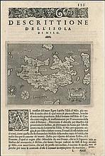 Descrittione DellIsola di Milo copper engraved map (14x11 cm.) by PORCACCHI, T. on a complete page 121 from the book