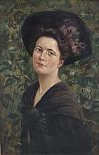 Dame mit breitkrempigem Hut
