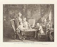 DANIEL NICOLAS CHODOWIECKI  Cabinet d'un peintre. Das Familienblatt des Künstlers.