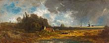 EDUARD SCHLEICH d. Ä.  Landschaft mit Windmühlen.