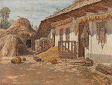 Adolf Zdrazila 1868 Poruba - 1942 - Scheune m...