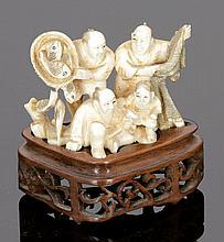 Netsuke Japan, 19. Jahrhundert. - Fischergrup...