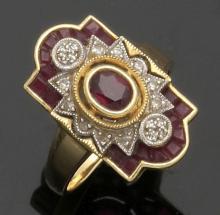 Antiker Damenring mit Rubinen und Diamanten...