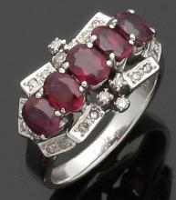 Damenring im Art Deco-Stil mit Rubinen. 7...