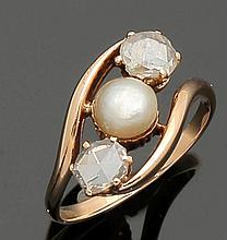 Damenring mit Diamanten und Perle