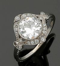 Damenring des Art-Déco mit einem Altschliffdiamant von 2,54 ct
